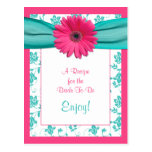 Pink Daisy Recipe Card for the Bride to Be Post Card