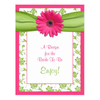 Pink Daisy Recipe Card for the Bride to Be Post Cards