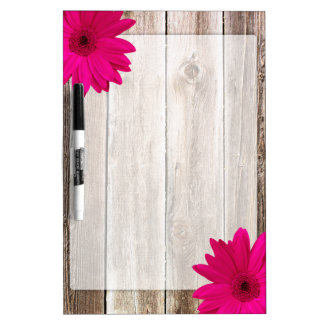 Pink Daisy Rustic Barn Wood Dry Erase Board