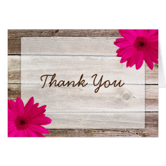 Pink Daisy Rustic Barn Wood Thank You Card