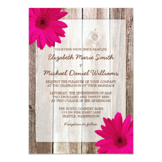 Pink Daisy Rustic Barn Wood Wedding Card