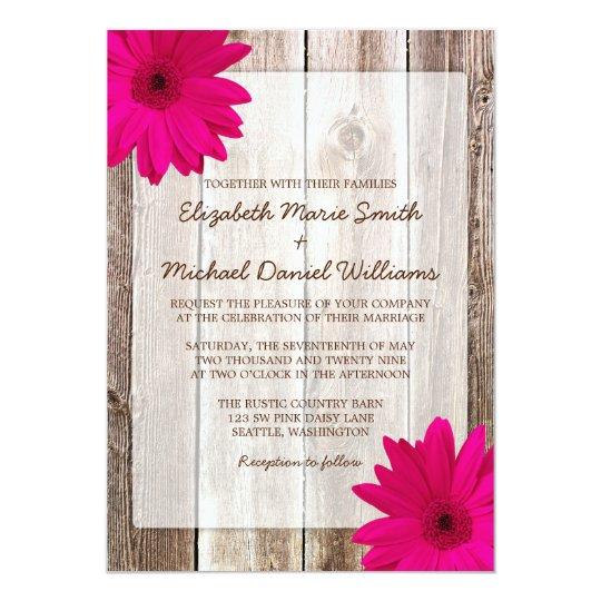 Pink Daisy Rustic Barn Wood Wedding Card