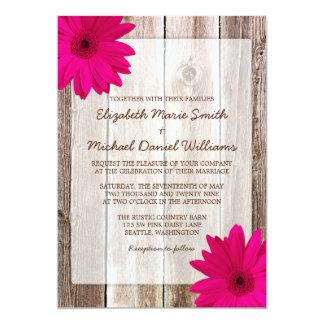 Pink Daisy Rustic Barn Wood Wedding Announcement