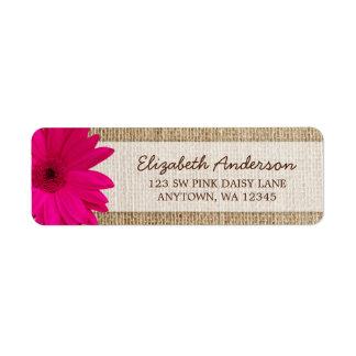 Pink Daisy Rustic Burlap Address Return Address Label