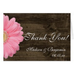 Pink Daisy Rustic Wedding Thank You Cards