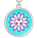 Pink Daisy Soccer Girl Necklace