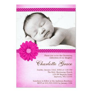 Pink Daisy Sparkle Photo Baptism Christening 13 Cm X 18 Cm Invitation Card