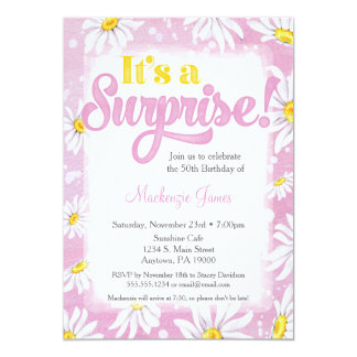 Pink Daisy Surprise Party Invitation Ladies Floral
