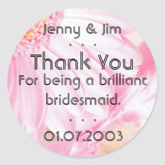 Pink Daisy Thank You Bridesmaid Sticker