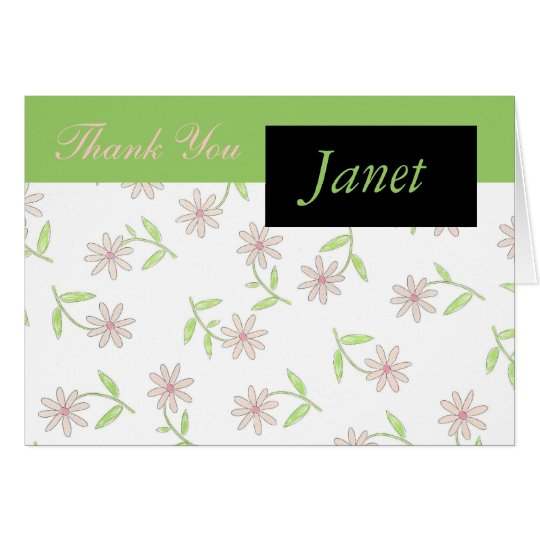 Pink Daisy Thank You Card with Name