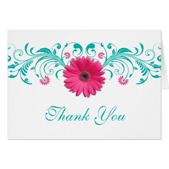 Pink Daisy Turquoise Floral Wedding Thank You Card