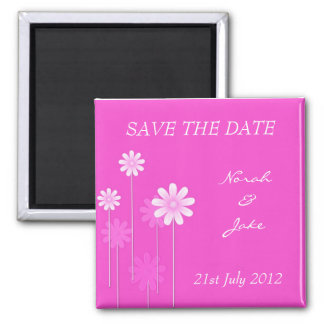 Pink Daisy Wedding Save The Date Magnet
