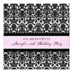 """Pink Damask 30th Birthday Party Invitations 5.25"""" Square Invitation Card"""
