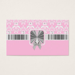 Pink bow business cards business card printing zazzle uk pink damask and bow business card colourmoves