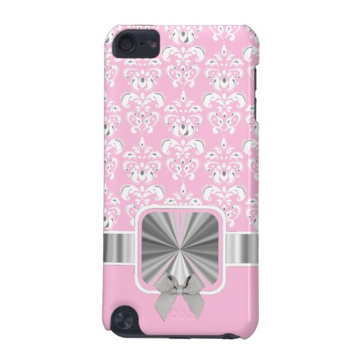 Pink damask and bow iPod touch (5th generation) cases