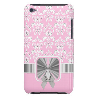 Pink damask and bow barely there iPod case