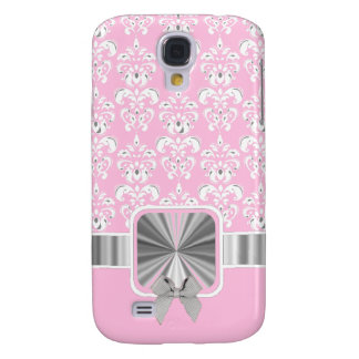 Pink damask and bow galaxy s4 case