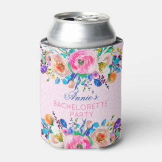 Pink Damask And Colorful Bouquet- Bachelorette Can Cooler