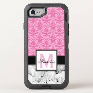 Pink Damask and Marble Monogram OtterBox Defender iPhone 8/7 Case