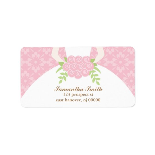 Pink Damask and Wedding Dress Label