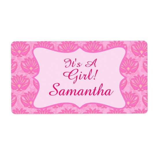 Pink Damask Baby Girl Name Personalised Birth