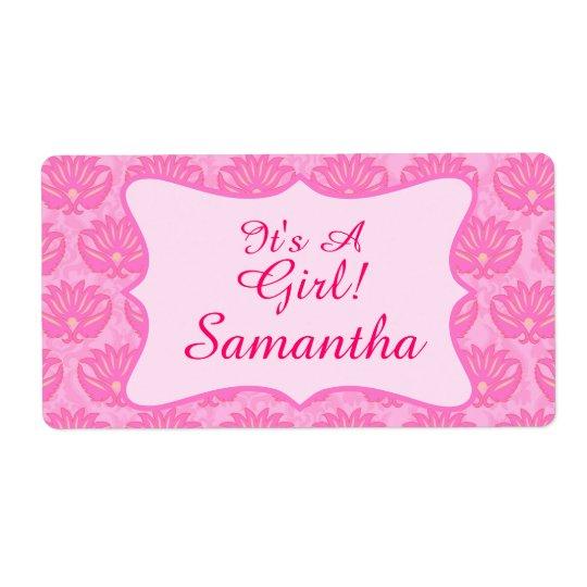 Pink Damask Baby Girl Name Personalised Birth Shipping Label