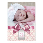 Pink Damask Baby Girl Photo Birth Announcement