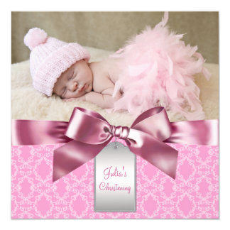 Pink Damask Baby Girl Photo Christening Custom Announcements