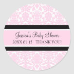 Pink Damask Baby Shower Favour Stickers