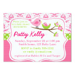 Pink Damask Baby Shower Invitation with birdies 13 Cm X 18 Cm Invitation Card