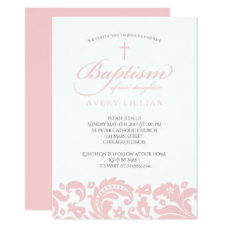 Pink Damask Baptism Invitation