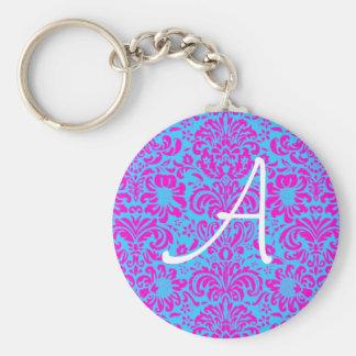 Pink Damask Basic Round Button Key Ring