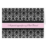 Pink Damask Best Friend Maid of Honour Invitation Cards