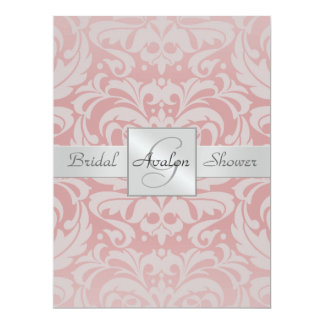 Pink Damask Bridal Shower Monogram Invitation