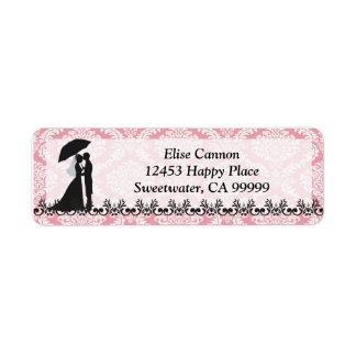 Pink Damask Bridal Shower : Return Address Label