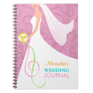 Pink Damask Bridal Wedding Journal Notebook