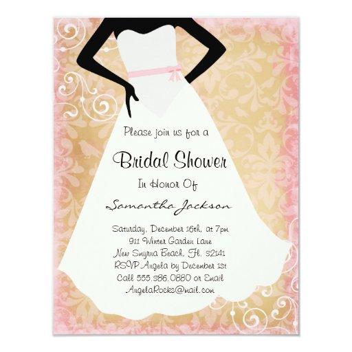 "Pink Damask Bride Bridal Shower Invite 4.25"" X 5.5"" Invitation Card"