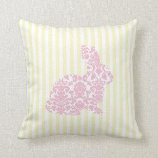 Pink Damask Bunny Rabbit on Yellow Stripes Cushion