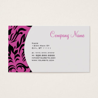 Pink Damask Business Card