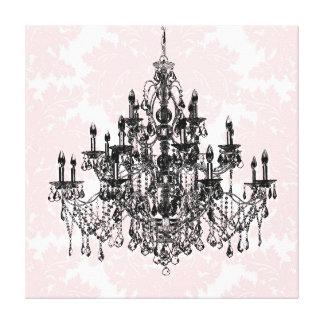 Pink Damask Chandelier Canvas Art