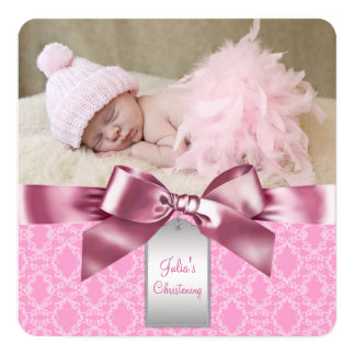 Pink Damask Christening 13 Cm X 13 Cm Square Invitation Card