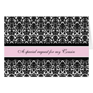 Pink Damask Cousin Bridesmaid Invitation Card