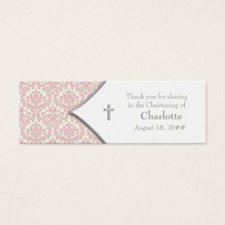 Pink Damask Cross Bomboniere Tags