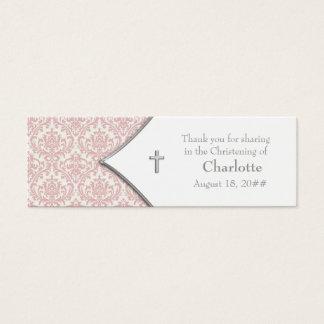 Pink Damask Cross Bomboniere Tags Mini Business Card