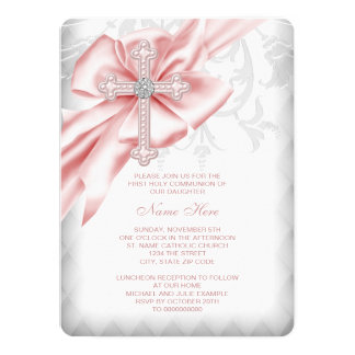 Pink Damask Cross First Communion 14 Cm X 19 Cm Invitation Card