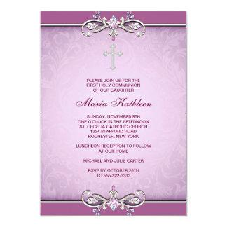 "Pink Damask Cross First Communion Invitation 5"" X 7"" Invitation Card"