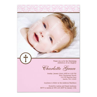 Pink Damask Cross Girl Photo Baptism Christening 13 Cm X 18 Cm Invitation Card