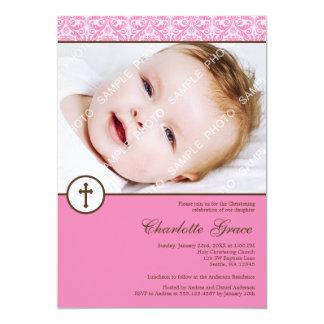 Pink Damask Cross Girl Photo Baptism Christening Card