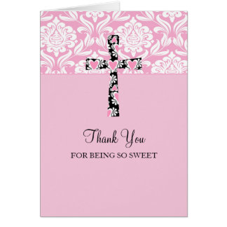 Pink Damask Cross Girl s Thank You Cards