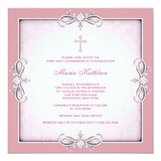 Pink Damask Cross Girls Pink First Communion 13 Cm X 13 Cm Square Invitation Card